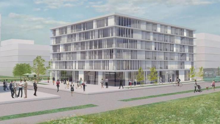 Geschäftsleute im Fokus: Visualisierung des neuen Hotels im Bachgraben.