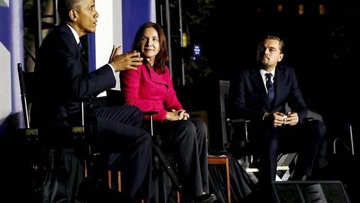 Barack Obama, Leonardo DiCaprio und Dr. Katharine Hayhoe diskutierten am Montag über den Klimawandel.