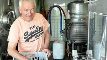 Hatte viel Glück im Unglück: Martin Klotz mit seinem Schwarzbuebe Bier.