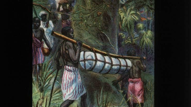 Der tote David Livingstones wird 1874 an die Küste nach Sansibar getragen.