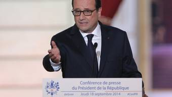 Frankreichs Präsident Hollande während seiner Rede im Élysée-Palast
