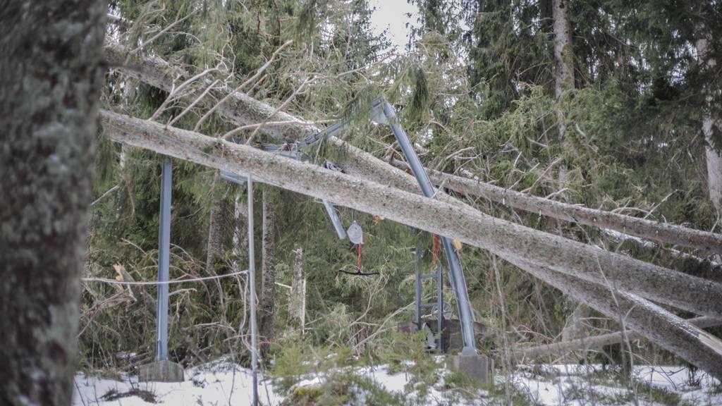 Nach Sturm Sabine: Drei Ersatzlifte stehen nach wenigen Tagen