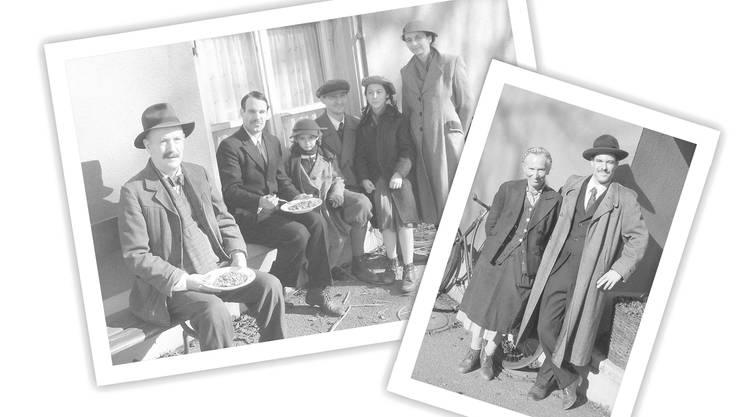 Links: Verfolgte Juden stärken sich vor dem «Alpenblick» mit einem Linsengericht (2. v. l.: Ciril Kammermann); rechts: Ciril Kammermann mit einer ansässigen Bäuerin
