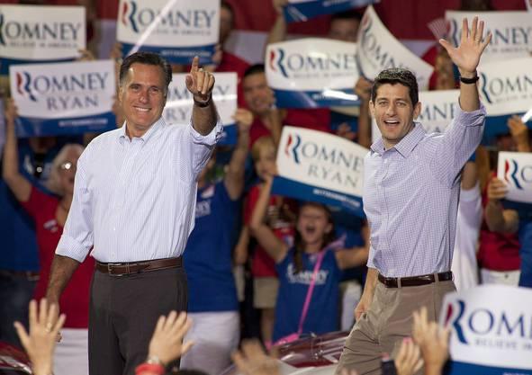 Mitt Romney mit seinem Vize-Kandidat Paul Ryan
