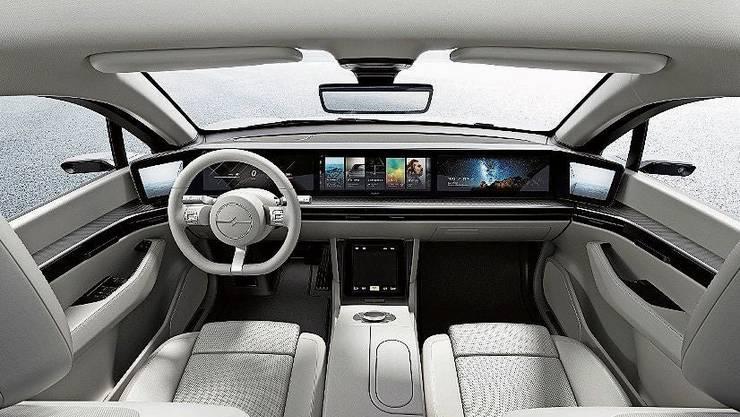 Der Innenraum von Sonys Elektroauto «Vision-S» ist Hightech.