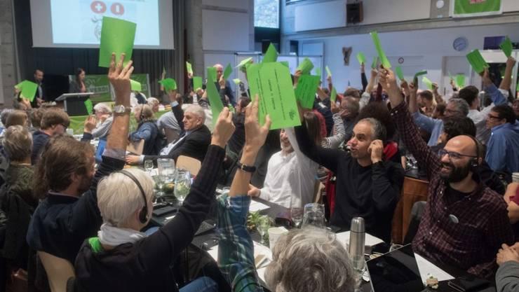 Die Grünen lehnen die Selbstbestimmungsinitiative der SVP und das Gesetz zur Überwachung von Sozialversicherten ab. Am Samstag fassten die Delegierten in Bellinzona einstimmig die Nein-Parole zu beiden Vorlagen. Diese würden zentrale Grundwerte der Schweiz aushebeln.