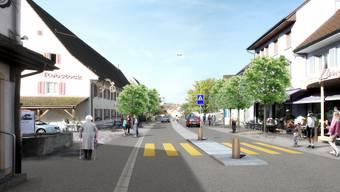 So könnte die Hauptstrasse nach der Umgestaltung aussehen: Mittelinsel und Mehrzweckstreifen sollen die Sicherheit der Fussgänger erhöhen.