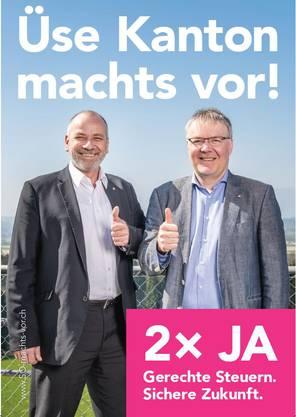 Ja-Kampagne zur Steuervorlage. Die Steuerreform sorgt hier für Gerechtigkeit und eine «sichere Zukunft».