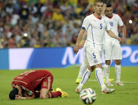 Die Spanier am Boden