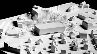Das Modell lässt erahnen, wie sich der Labor-Neubau in den Spital-Park einfügt. zvg