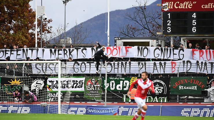 St. Gallens Fans tun in Lugano ihrem Unmut kund