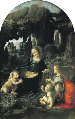 «Felsgrottenmadonna» von 1483/85 (erste Fassung). Von der Bruderschaft der Unbefleckten Empfängnis in Mailand bestellt (die 1508 eine zweite Fassung bekam). Öl auf Holz, 197,3×120 cm. Heute im Louvre, Paris.