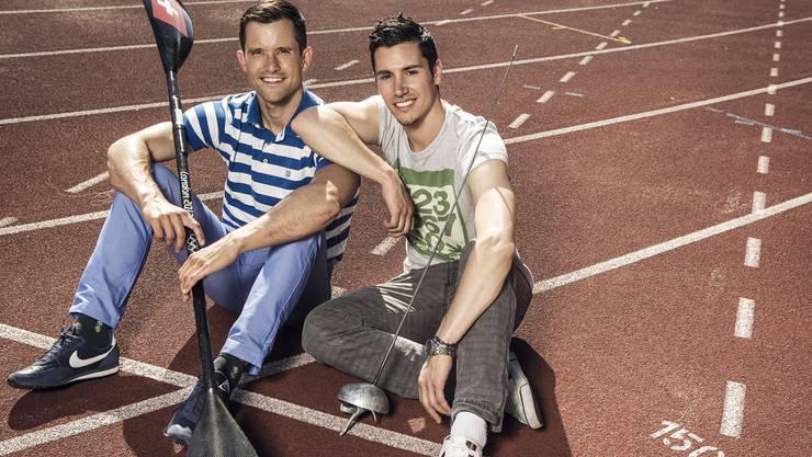 Von der Plattform von Mike Kurt (l.) und Fabian Kauter profitieren auch regionale Sportler wie Benjamin Steffen oder Daniela Wüthrich.Anderegg