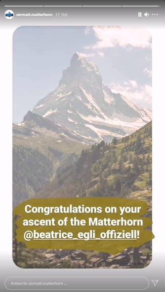 Das Tourismusbüro von Zermatt gratulierte Beatrice Egli auf Instagram.