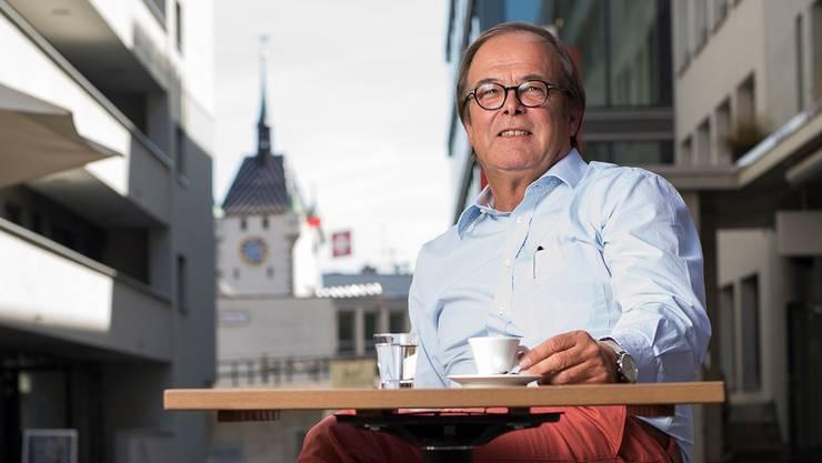 Benno Zehnder beim Gstühl-Areal in Baden, wo er erstmals in Baden als Investor in Erscheinung trat.
