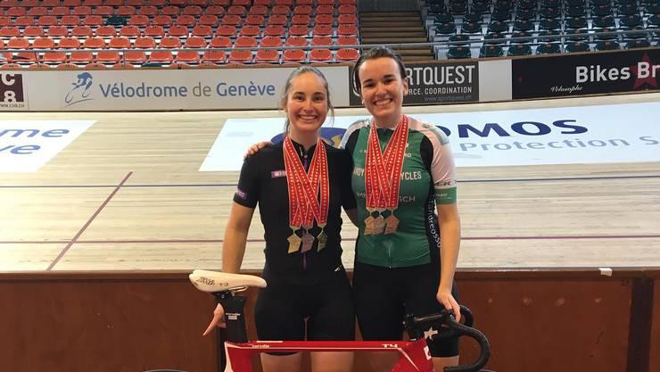 Aline Seitz (l.) zusammen mit der zweiten, dreifachen Medaillegewinnerin aus dem Aargau: Michelle Andres.