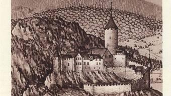 Die Neu Bechburg in einem Stich nach einem Aquarell aus dem Jahr 1660.