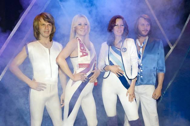 Stolz präsentiert das ABBA Museum in Stockholf 2015 die neuen Wachsfiguren der Band. Von links: Benny Andersson, Anni-Frid Lyngstad, Agnetha Fältskog und Björn Ulvaeus.