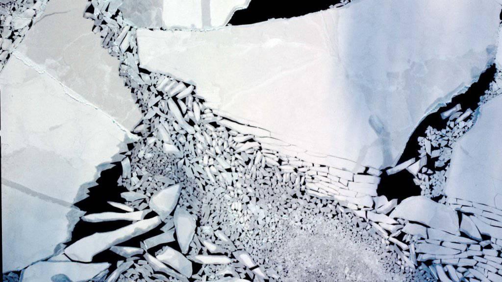 Die Luftaufnahme aus 300 Metern Höhe zeigt einjähriges Meereis in der Arktis, das unter Einfluss starker Winde aufgebrochen ist. (Symbolbild)