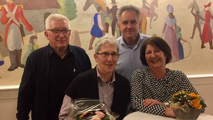 Amtsübergabe (v.l.n.r.): Bruno Melliger, Margrith Melliger, Martin Leu, Karin Brauchli.