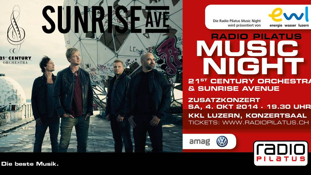 Sunrise Avenue & 21st Century Orchestra: Weitere Tickets erhältlich