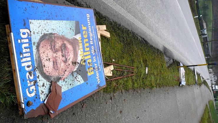 Die Büza wehrt sich dagegen, dass das Bild ihres Finanzdirektors vor den Wahlen – wie hier 2007 – beschmutzt wird.  bz-archiv
