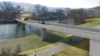 Die geplante Umfahrungsbrücke über die Reuss bei Mellingen (Visualisierung)