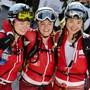 Nach dem harten Rennen im Ziel: Die Schweizerinnen Marianne Fatton (links), Florence Buchs (Mitte) und Deborah Chiarello (rechts).
