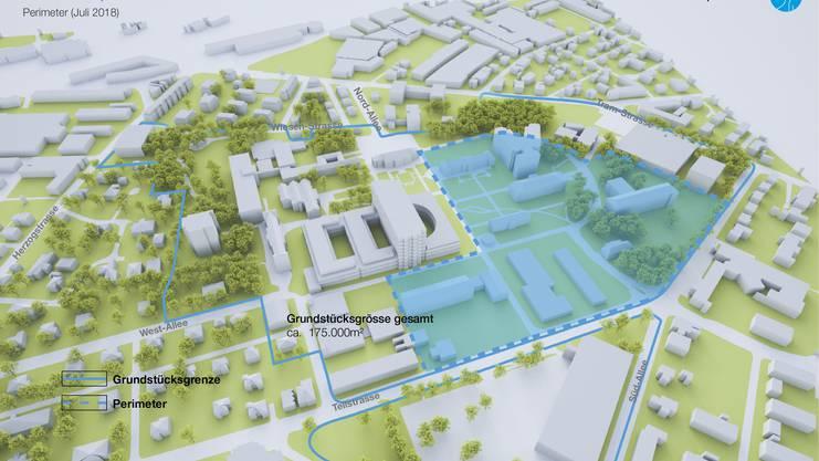 Kantonsspital Aarau, Baufeld für den Neubau, Stand Juli 18
