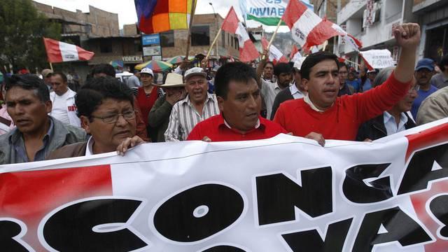 Demonstration in Cajamarca gegen Mine