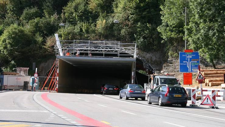 Tunnel im Tunnel. Übers Wochenende wurde im Schlossbergtunnel gebaut.