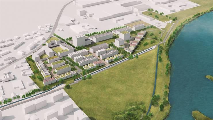 Die Entwicklungszone Grossacher am Stausee soll in Etappen bebaut und entwickelt werden. (Visualisierung)