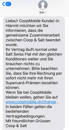 Dieses SMS versendet Salt an Coop-Mobile-Kunden.