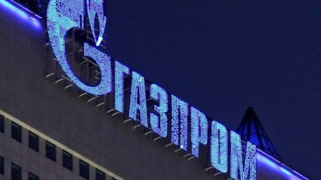 Das Gazprom-Logo auf dem Hauptsitz in Moskau (Archiv)