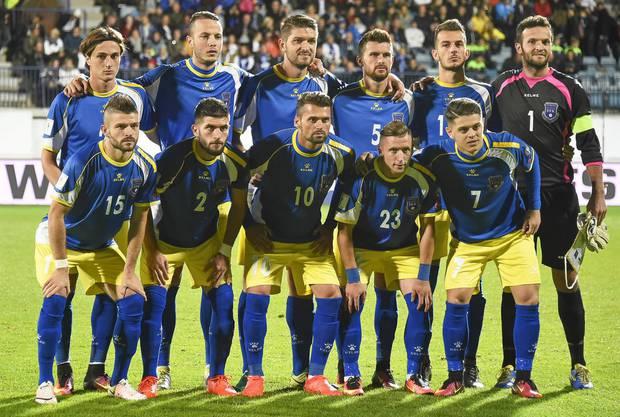 Veritas Stadion in Turku, Finnland. Kosovos Nationalmannschaft spielt gegen Finnland in der Qualifikation für die WM 2018 in Russland.