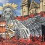 """Am 28. Juni starten die St. Galler Festspiele mit der Verdi-Oper """"Il Trovatore"""". Die Bühne mit dem Todesengel steht direkt vor der Kathedrale."""