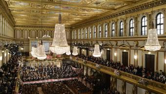 Alle Welt blickt am Neujahrstag in den Goldenen Saal des Wiener Musikvereins, wo Zubin Mehta ab 11.15 Uhr das Neujahrskonzert dirigiert. HERBERT NEUBAUER/APA/KEY