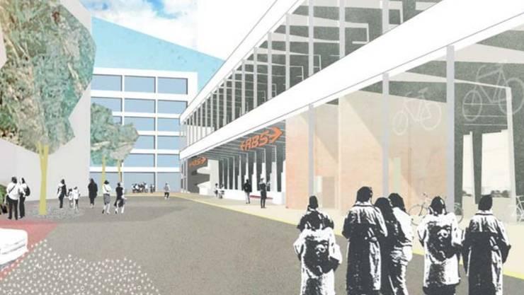So wird die neue RBS-Peronhalle mit dem darüberliegenden Museum visualisiert.  Für den RBS soll ein prominenter Kopf-Bahnhof zum Platz hin ausgebildet werden.
