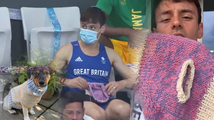 Dieser Olympiasieger strickt ein Hundepulli auf der Tribüne