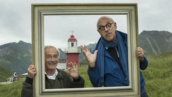 Karel de Rooij und Peter de Jong (Mini & Maxi), die Ehrenwärter 2016 des Leuchtturms Rheinquelle auf dem Oberalppass. (zVg)