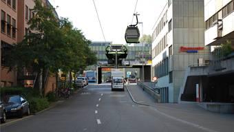Die Stadtseilbahn würde vom oberen Bahnhofplatz aus durch die Bahnhof- und die Parkstrasse zu den Bädern hinunterfahren.Zvg