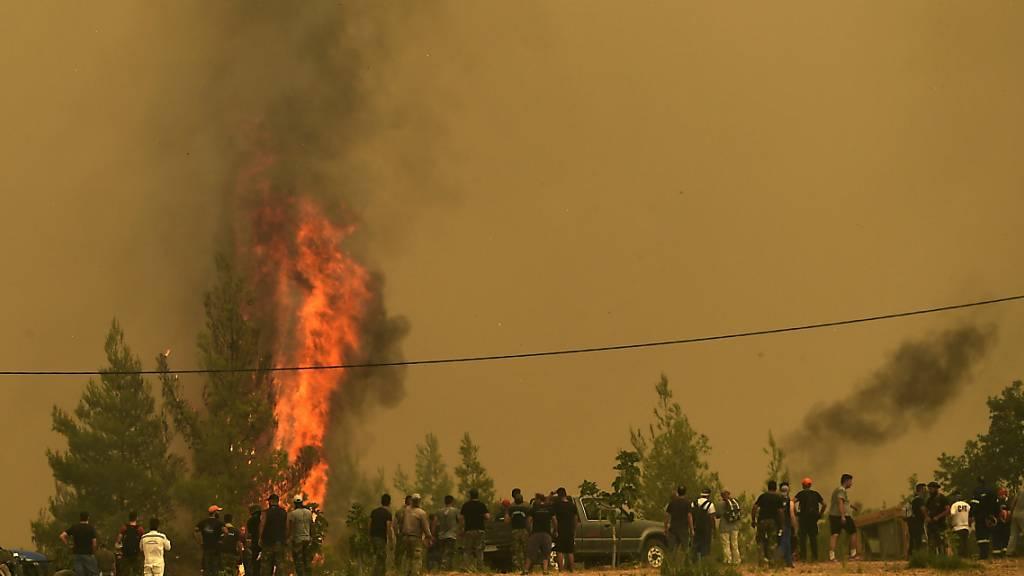 Menschen beobachten die Flammen, die Bäume während eines Waldbrandes im Dorf Avgaria auf der Insel Euböa verbrennen. Der Kampf gegen die Brände im Mittelmeerraum halten weiter an. Besonders dramatisch ist die Lage auf der griechischen Insel Euböa, dort brannte es die achte Nacht in Folge. Foto: Michael Varaklas/AP/dpa