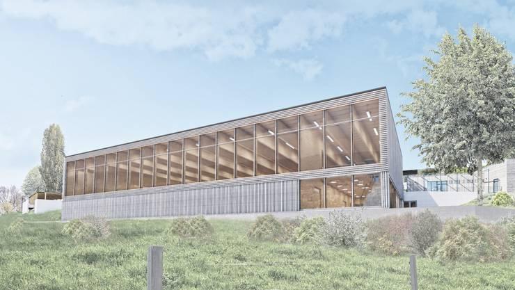 Die neue Doppelturnhalle ist unterteilbar und wird mit einer Fotovoltaikanlage auf dem Dach ausgerüstet.Visualisierung: Erne AG Holzbau