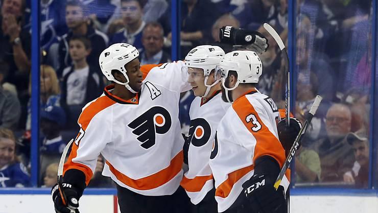 Die Philadelphia Flyers bejubeln ihren sechsten Sieg in den letzten sieben Spielen
