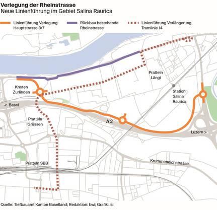 Die Verlegung der Rheinstrasse grafisch dargestellt. (Grafik: Lea Siegwart / CH Media)