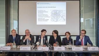 Anton Lauber, Isaac Reber, Monica Gschwind, Elisabeth Ackermann, Eva Herzog, Conradin Cramer