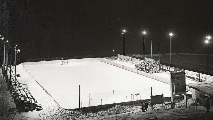 Das waren noch Winter: Die Eisbahn bei der Lanco in Langendorf. (Archiv)