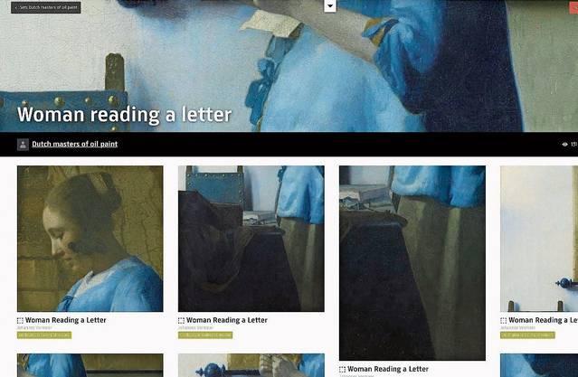 Online üppigst ausgestattet ist das Rijksmuseum Amsterdam. Sorgfältig gemacht sind die Bilderklärungen – wie zur «Briefleserin» von Johannes Vermeer.