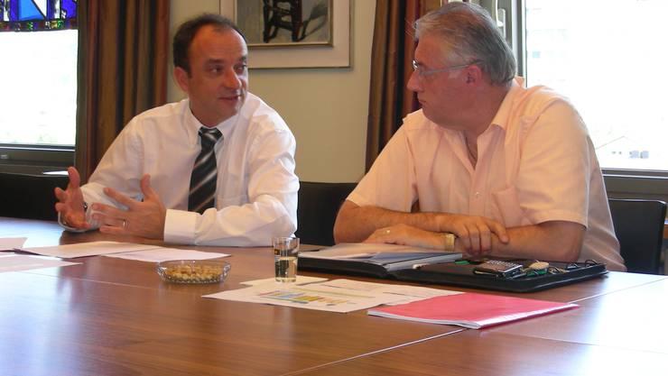 Prävention Gemeindeammann Markus Dieth (links) und Gemeinderat Roland Kuster leiten die Pandemievorsorge. dieter minder