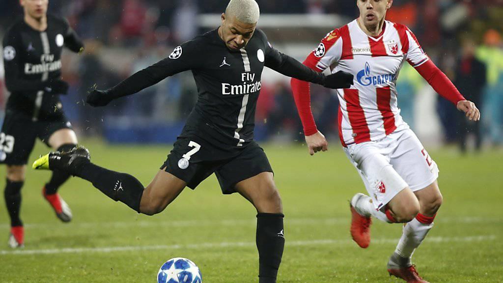 PSG-Star Kylian Mbappe erzielt am 3. Oktober das 4. Tor gegen Roter Stern Belgrad